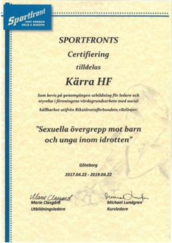 Sportfront certifikat