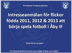 Intresseanmälan Flickspelare födda 2011-2012-2013!